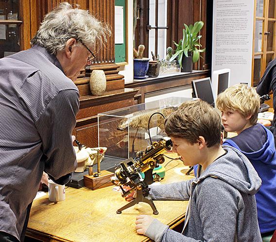 Danny Ferri, 2 boys and Watson brass microscopes