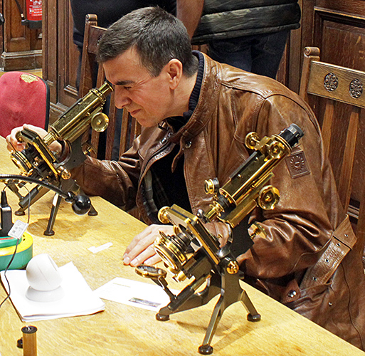Parent with Watson brass microscopes
