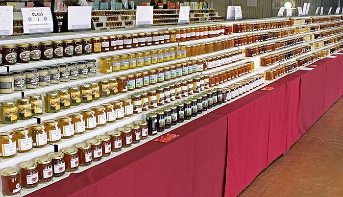 Rows of jars of honey
