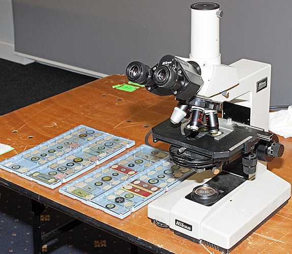 Nikon Labophot microscope and slides