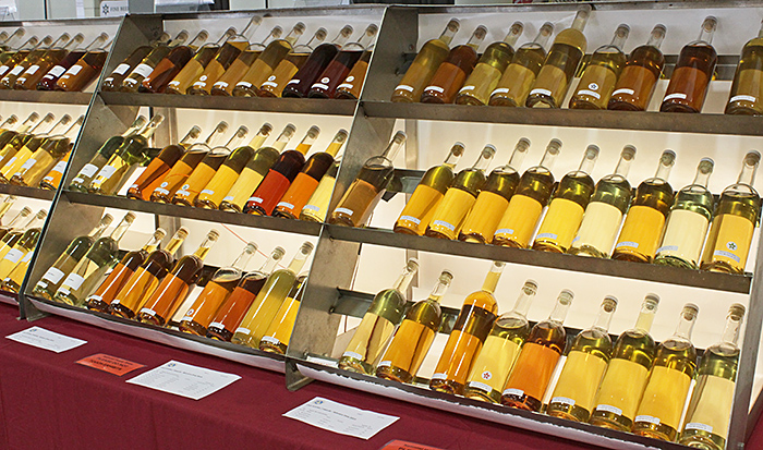Rows of bottles of mead