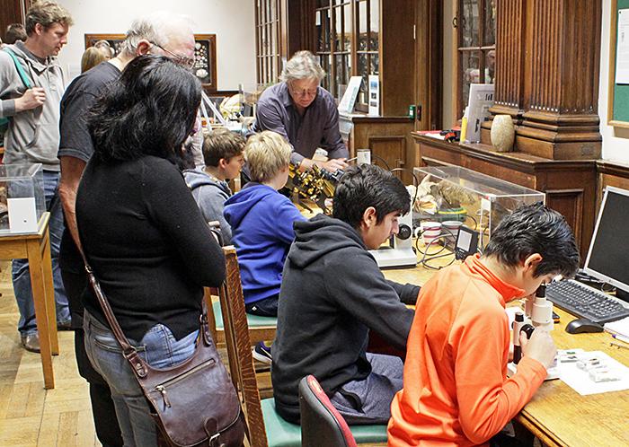 Children with microscopes