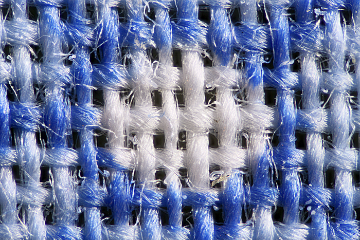 Photomicrograph of blue flower fabric