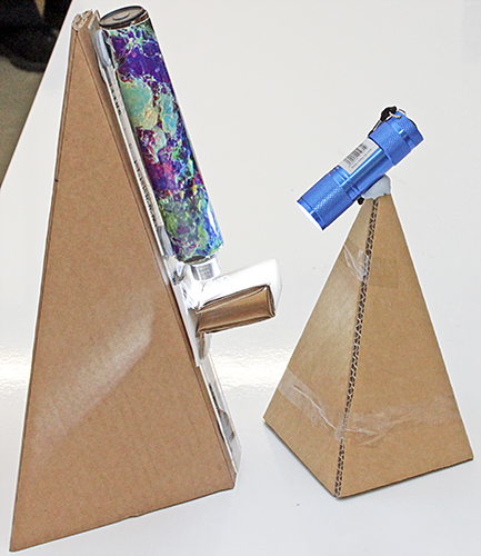 Cardboard microscope assembled by Chris Thomas