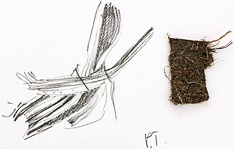 Drawing of fabric fibres by Irma Irsara
