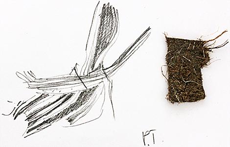 Drawing of fabric fibres by Irma Irsara