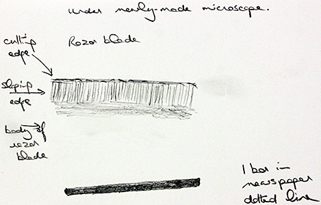 Drawing of edge of razor blade by Joan Bingley
