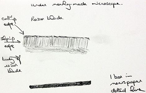 Drawing of edge of razor blade by Joan Bingley