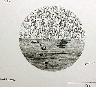 Drawings of cork and charcoal by John Tolliday
