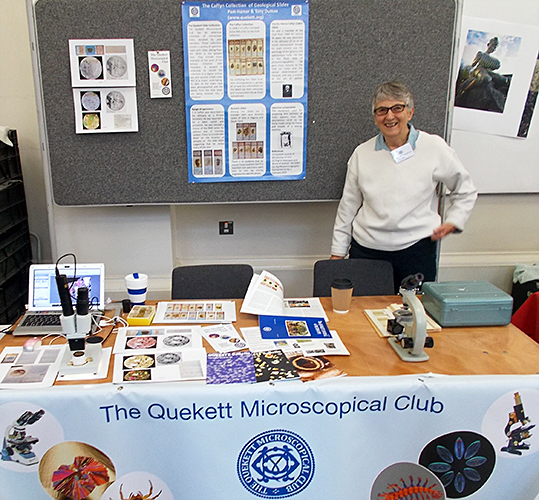 Pam Hamer with the Quekett display