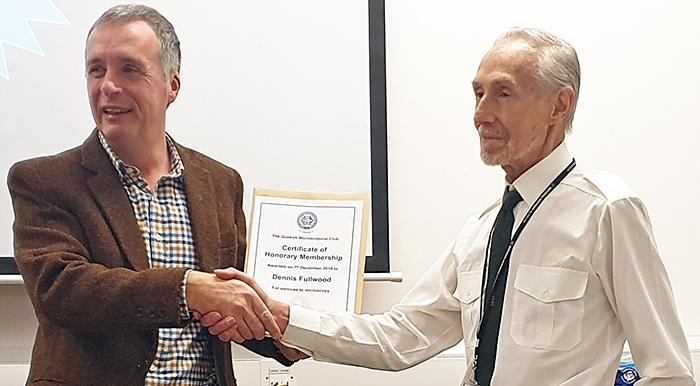 Dennis Fullwood receiving his Honorary Membership certificate