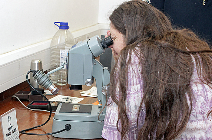 Irma Irsara with the Watson 5:1 Zoom Stereomicroscope