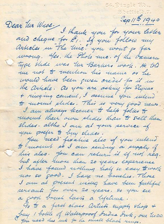 Letter from 11th September 1940, page 1