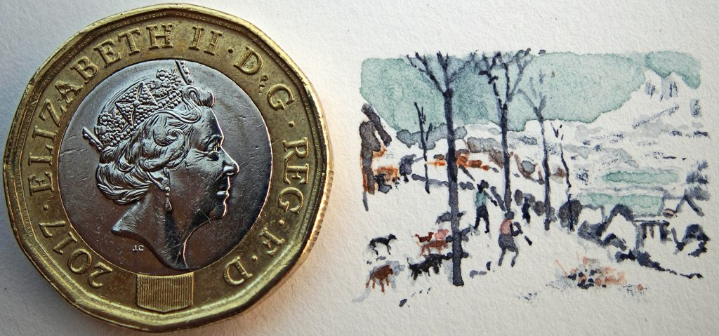 Watercolour micropainting of a Breughel