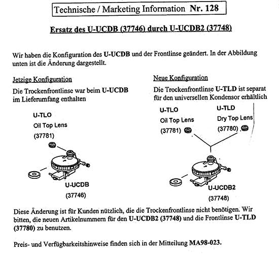 Updated Olympus U-UCDB Universal Condenser