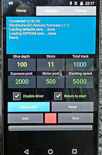 Stackduino-G3 app on Android smartphone