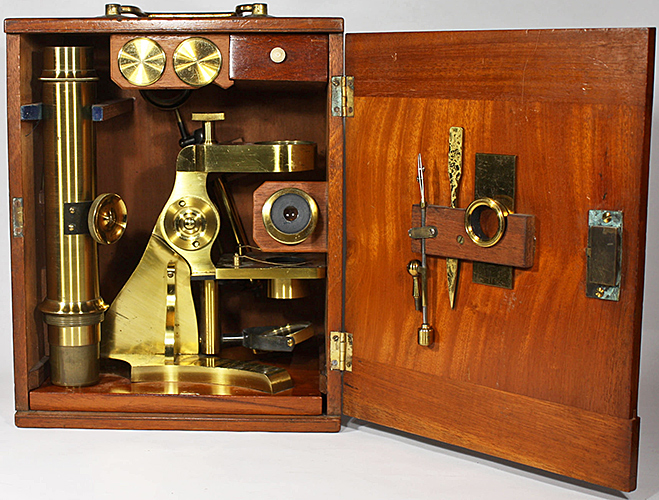 Watson & Son microscope in box with accessories