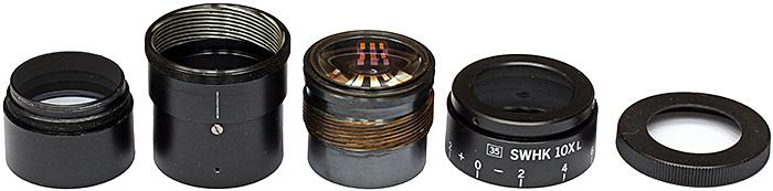 Dismantled Olympus 35 SWHK 10× L finder eyepiece