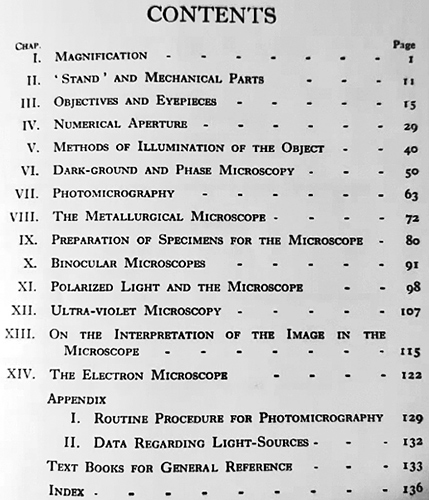 Contents of Practical Microscopy by L. C. Martin & B. K. Johnson