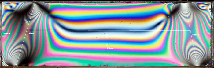 Photograph through stressed polycarbonate sheet