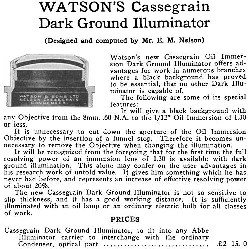 Advertisement for Watson's Cassegrain Dark Ground Illuminator
