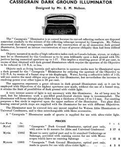 Cassegrain Dark Ground Illuminator (Watson 1935 catalogue)