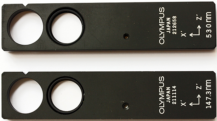 Olympus full-wave and quarter-wave tint plates